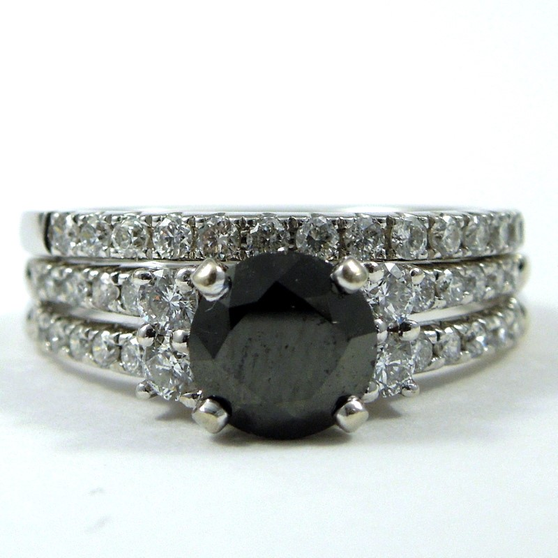 Black Diamond Engagement Ring Set 001 100 01070 Diamond Engagement