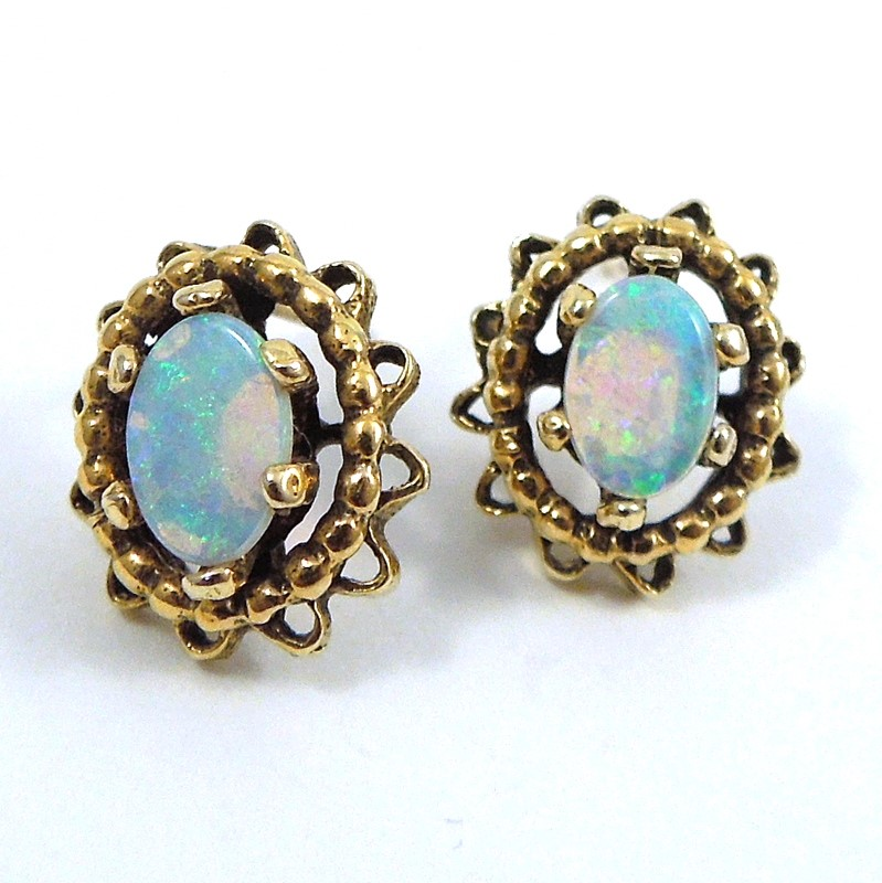 Opal Stud Earrings 001 211 00058 Vintage Colored Stone From Joint Venture Jewelry Cary Nc